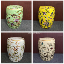 Hand Draw Flower And Bird Butterfly Chinese Ceramic Drum Stool Living Room Home Decorative Change Shoes Makeup Cosmetic Stool(China)