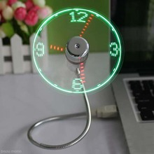 USB Mini Flexible Time LED Clock Fan with LED Light Cool Gadget Flexible Usb Clock Fan Gadgets Cool Usb Fan Clock Usb Hot