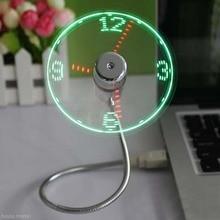 USB Mini Portable LED Clock Fan With LED Light Cool Dance Flexible Clock Fan Gadget Cool Fan Clock Fluorescent Creative Gift