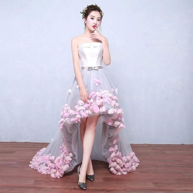 Sexy bretelles sans manches court avant Long dos dentelle fleur robe de soirée 2019 mariée Banquet bal robes de bal robes de Noiva