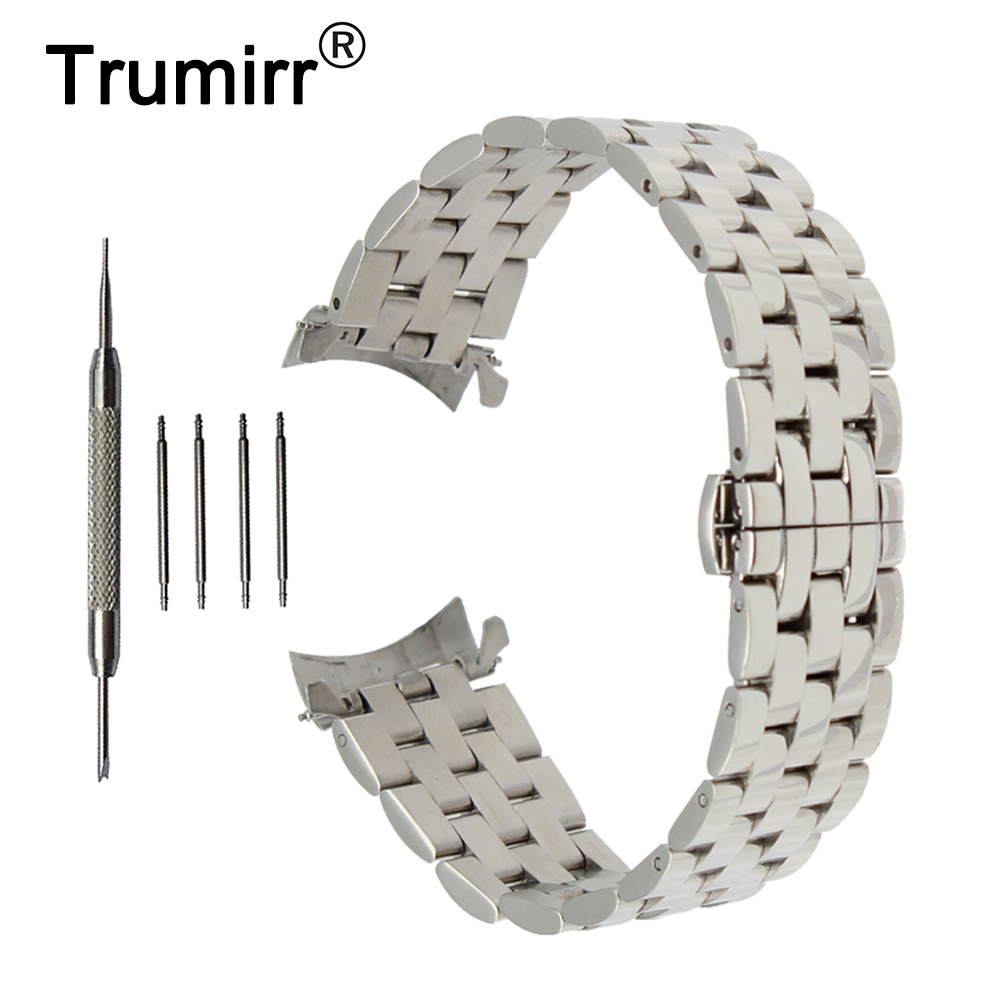 22mm Stainless Steel Watch Band Curved End Strap +Tool for Ticwatch 1 46mm Garmin Fenix Chronos Butterfly Buckle Wrist Bracelet curved end stainless steel watch band for breitling iwc tag heuer butterfly buckle strap wrist belt bracelet 18mm 20mm 22mm 24mm page 2