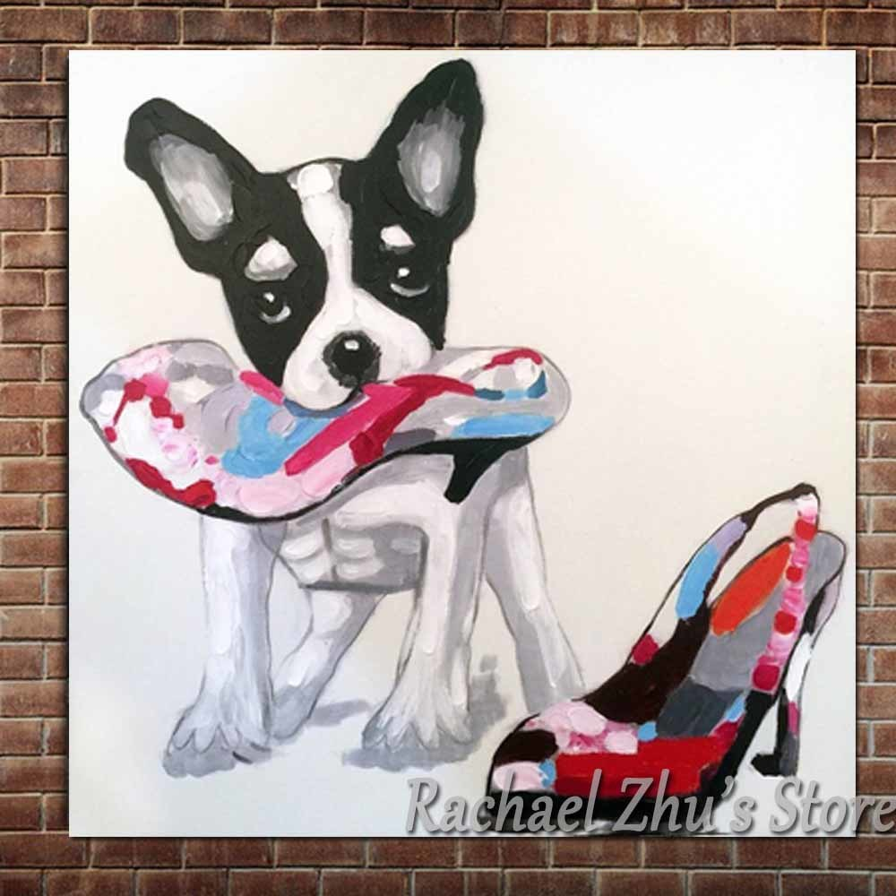 Hand Painted Lovely Cartoon Dog Oil Painting On Canvas Dog and High heels Wall Picture Childrens Room Wall Decor Christmas Gift