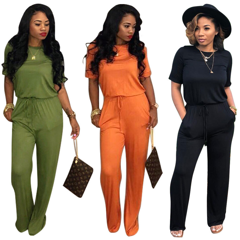 elegant Jumpsuits 2018 Summer Overalls Sexy Casual fashion Long pants Playsuits Romper Women loose Jumpsuit Plus Size