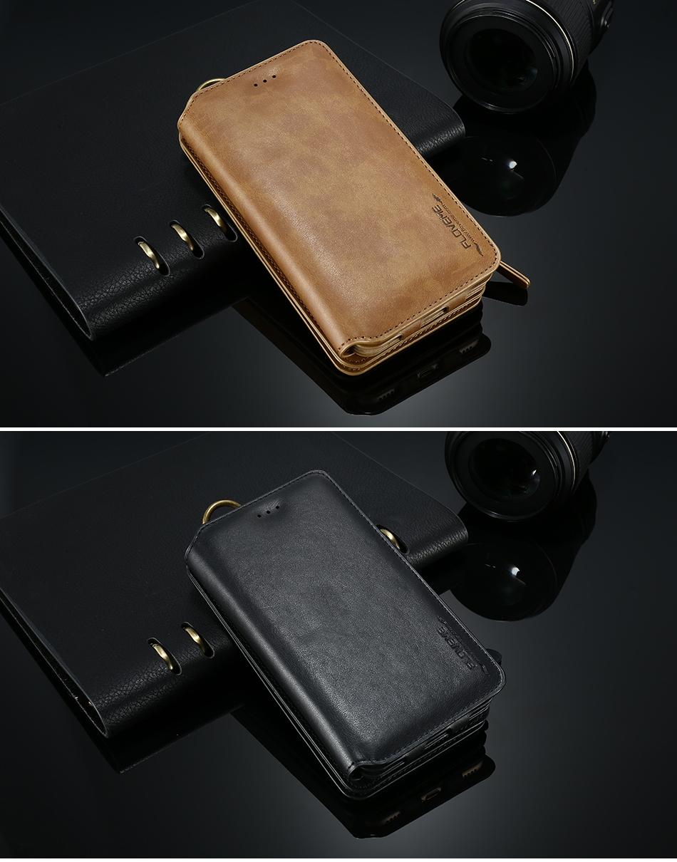 FLOVEME Hybrid Detachable Leather Case For Samsung Galaxy S7 Edge 18 Card Slot Metal Zipper Cash Storage Wallet Pouch Cover Bag (13)