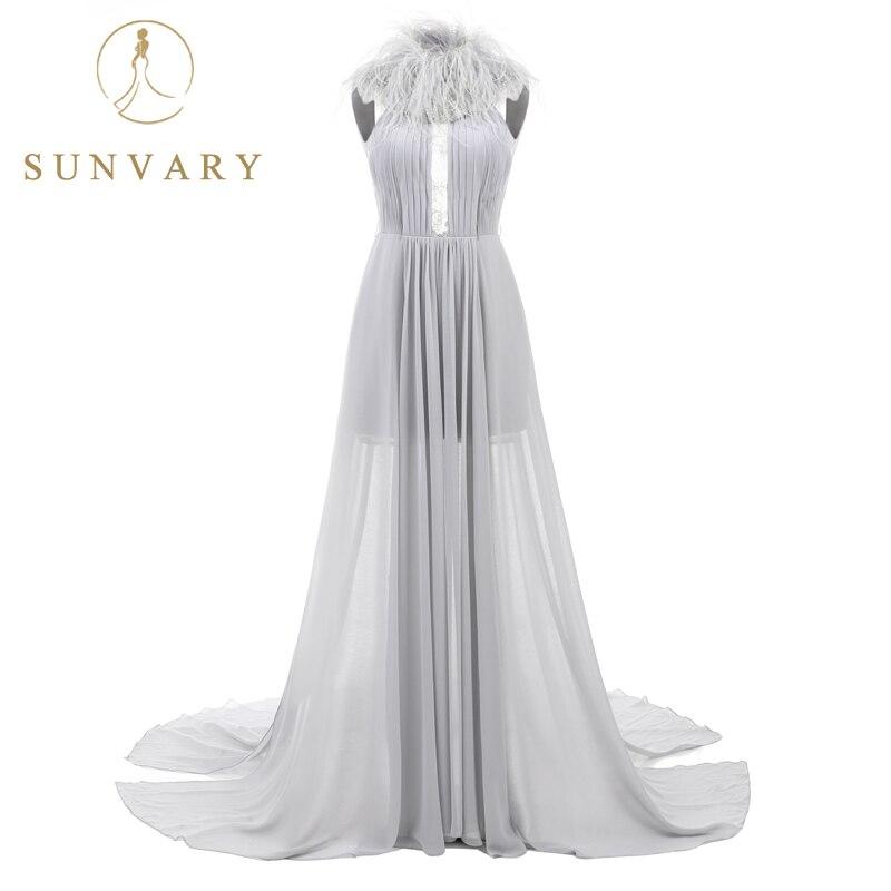 Sunvary Hof Trein Backless Lange Prom Dress 2018 Mouwloze Hoge Kraag - Jurken voor bijzondere gelegenheden - Foto 3