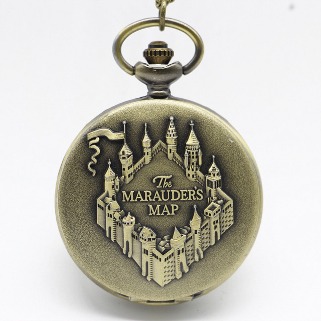 Bronze Marauders Map Pattern Quartz Pocket Watch With Pendant Necklace Men Women