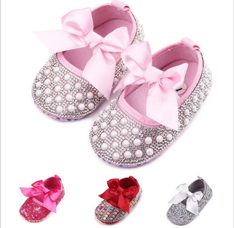 Crib Handmade Shoes Girls Princess Mary Jane Crystal Pearl DIY Infant Toddler Bebe Soft Soled Anti-Slip Bow Shoe Footwear