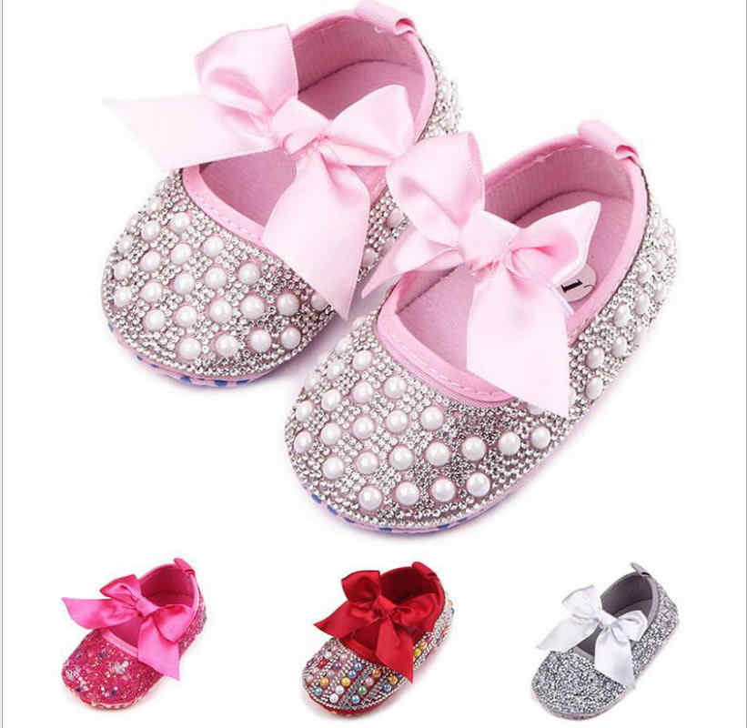 3a1b7f32ed1 Crib handmade shoes Girls Princess Mary Jane Crystal Pearl DIY Infant  Toddler Bebe Soft Soled Anti