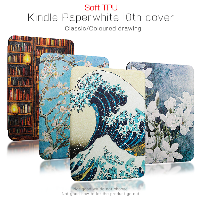 TPU Case For Amazon Kindle Paperwhite 4th Smart Cover Painting EBook Case For Kindle 10th 2018 Version With Auto Wake/sleep