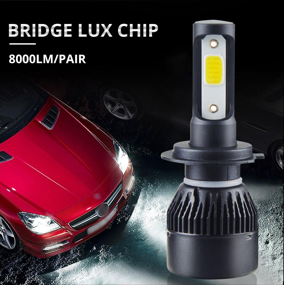 1 pcs LED H7 LED Car Headlight Bulb 8000LM LED H4 H7 H11 9005 9006 9012 4300k 6500k COB Hight Low beam MINI 12V 24V 72W 50000h (2)