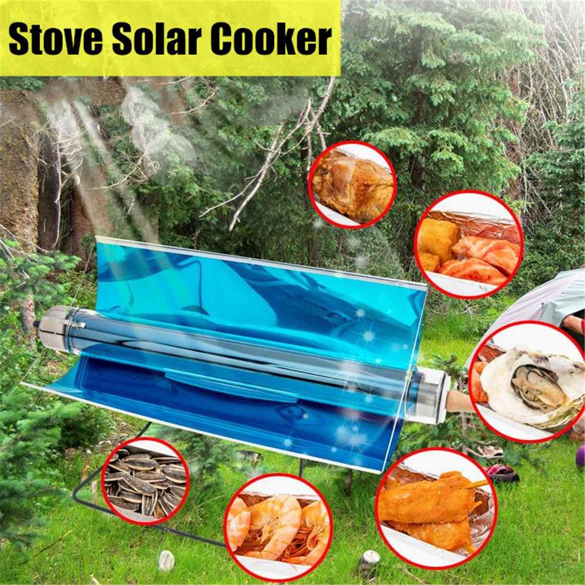 Portable chaud pliant cuisinière solaire cuisinière four carburant gratuit pique-nique cuisson Barbecue nourriture Camping randonnée en plein air Barbecue Grill 75X35X35 cm