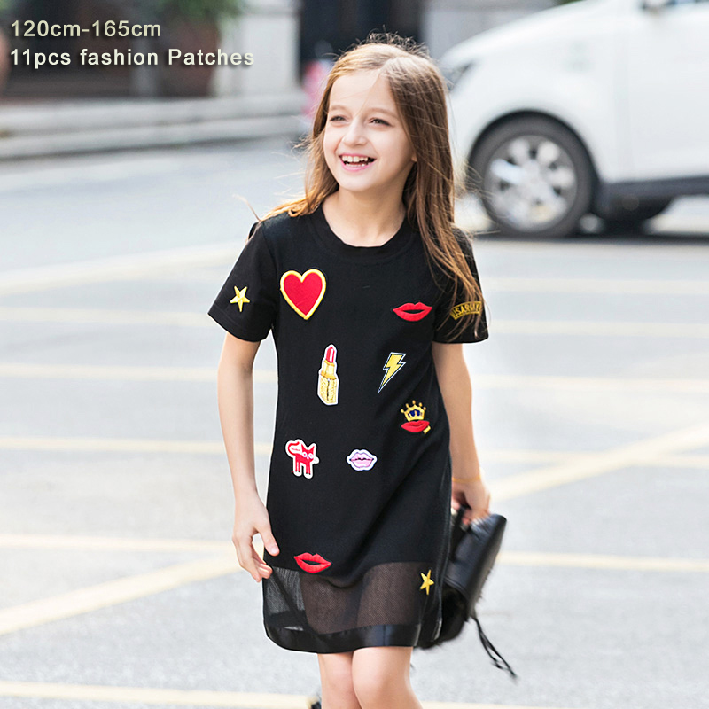 Summer Girls Dress for Teenager Girl Casual Dress Kiss Star Appliques Mesh Black Kids Dresses Casual Children Dress 6 8 10 12 14 star island summer