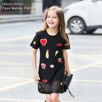 Yaz Kız Elbise Genç Kız Rahat Elbise Öpücük için Yıldız Aplikler Mesh Siyah Çocuklar Elbiseler Rahat Çocuk Elbise 6 8 10 12 14