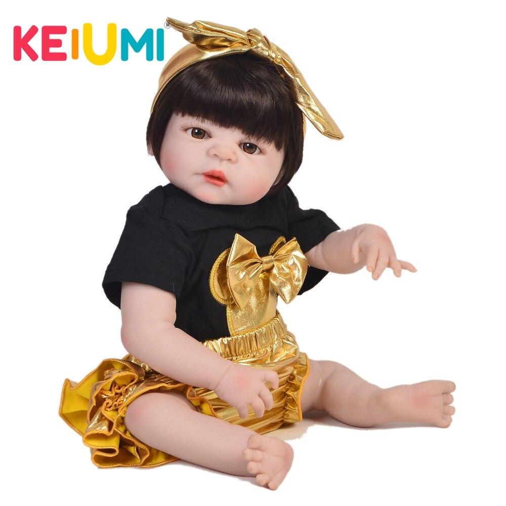 Oyuncaklar ve Hobi Ürünleri'ten Bebekler'de Sıcak Satış 23 Inç Reborn Kız Bebekler Tam Silikon Vücut 57 cm Gerçekçi Bebek Oyuncak Bebek Satılık Çocuk doğum günü hediyesi yatmadan Oyun Oyuncak'da  Grup 1