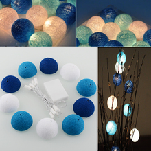 Aladin 10 LED Romantic Cotton Ball Battery String Light Blue Party Patio Tree Decor Decoration 1.8M(China)