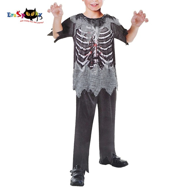 Boys Skeleton Zombie Costume Halloween Kit Carnival Holidays Scary Bloody Horror Cosplay Fancy Dress For