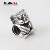 Authentic 925 Sterling Silver Original Animal Lucky Elephant Charm Bead Fit Pandora Bracelet Women Jewelry