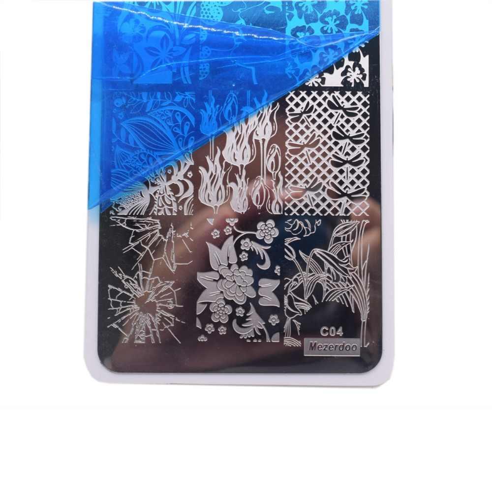 Mezerdoo Shattereแก้วสามเหลี่ยมเล็บแม่แบบปั๊มสวยดอกไม้จูบสี่เหลี่ยมผืนผ้าเล็บเพ้นท์เล็บแผ่นภาพDIY C04
