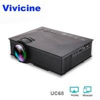 VIVICINE UC46 обновления UC68 UC68H мини-проектор c WiFi, HD Портативный HDMI USB PC 1080 p проектор для домашнего Театр видеоигры Proyector
