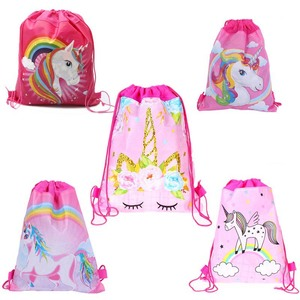 Cartoon Unicorn Drawstring Bags for Girls Travel Storage Package School Backpacks Children Kids Birthday Party Favors Bag