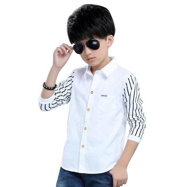 2019 Spring Children Long Sleeve Cotton Dress Shirt Casual Shirts