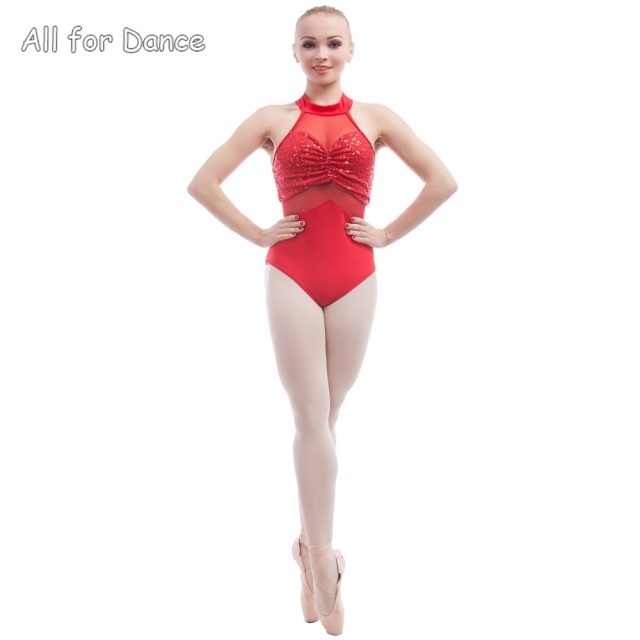 c5042d0ccf Adult Ballet Wear Halter Zsa Zsa Sequin Spandex With Mesh Bodice Dance  Leotard For Stage Performance Dance Costume