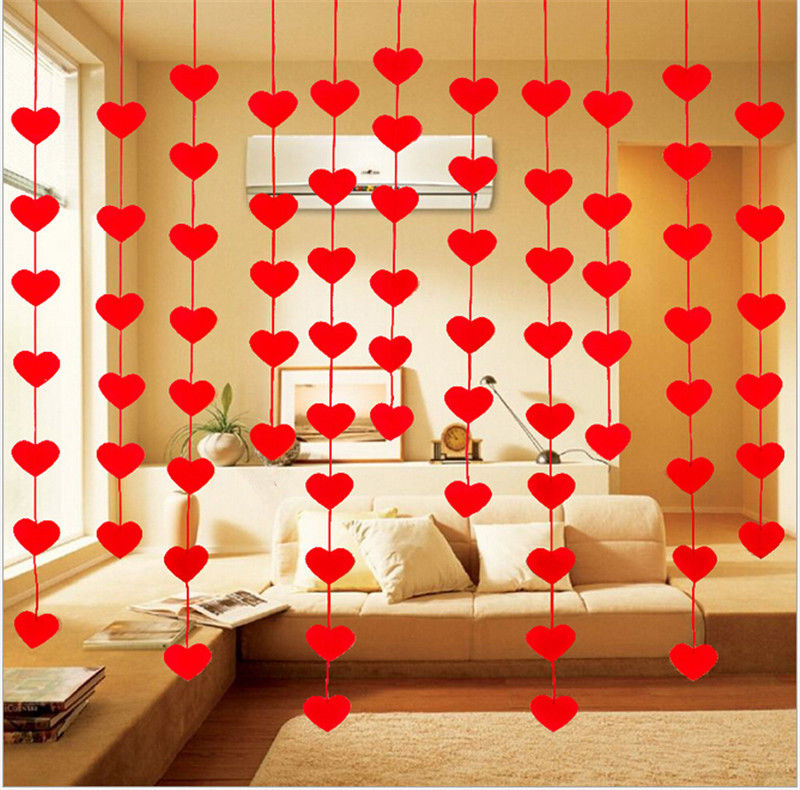 1Set Red Love Heart Curtain Non-woven Garland Flags Banner Wedding Room Decoration Birthday Party Supplies Bunting Wholesale love