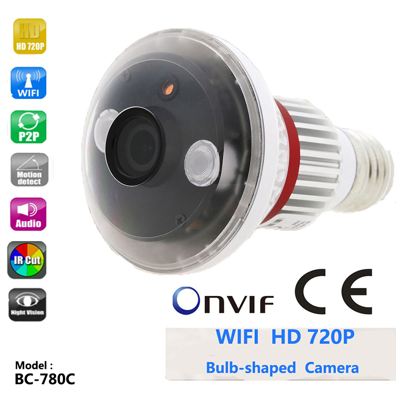 BC-780C P2P HD 720P 1.0 Megapixel Onvif Bulb Wireless WIFI Home IP Camera Network Surveillance CCTV Camera Support E-mail Alarm bc 883m mirror bulb lamp camera hd 960p wifi ap hd 960p ip network camera with real light remote control 2017 new arrival