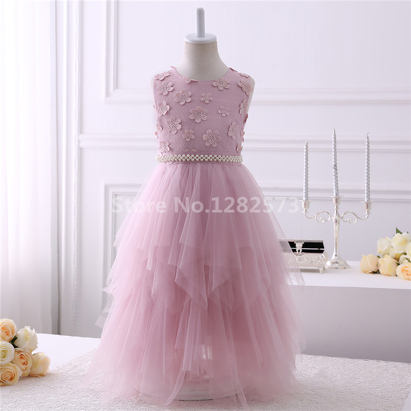 d0500a65b6ccb In Stock High Quality Flower Girl Dresses Beaded 2-12Y White Holy First  Communion Dresses for Girls Long Blush vestido daminha