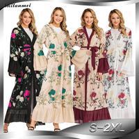 Luxury Muslim Embroidery Floral Abaya Dress Flare Sleeve Cardigan Kimono Long Robe Tunic Middle East Ramadan Arab Islamic Cloth