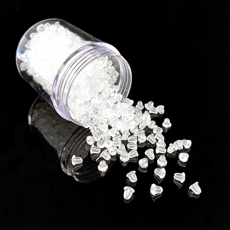 100pcs/Lot Clear Soft Silicone Rubber Earring Backs Stoppers Safety Accessories DIY Earrings Nuts In Jewelry Findings&Components