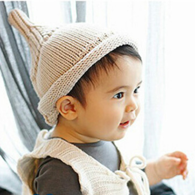 2016 new children baby nipple cap pointed knitting wool cap candy color warm  winter girl boy 4bb02d8ca200
