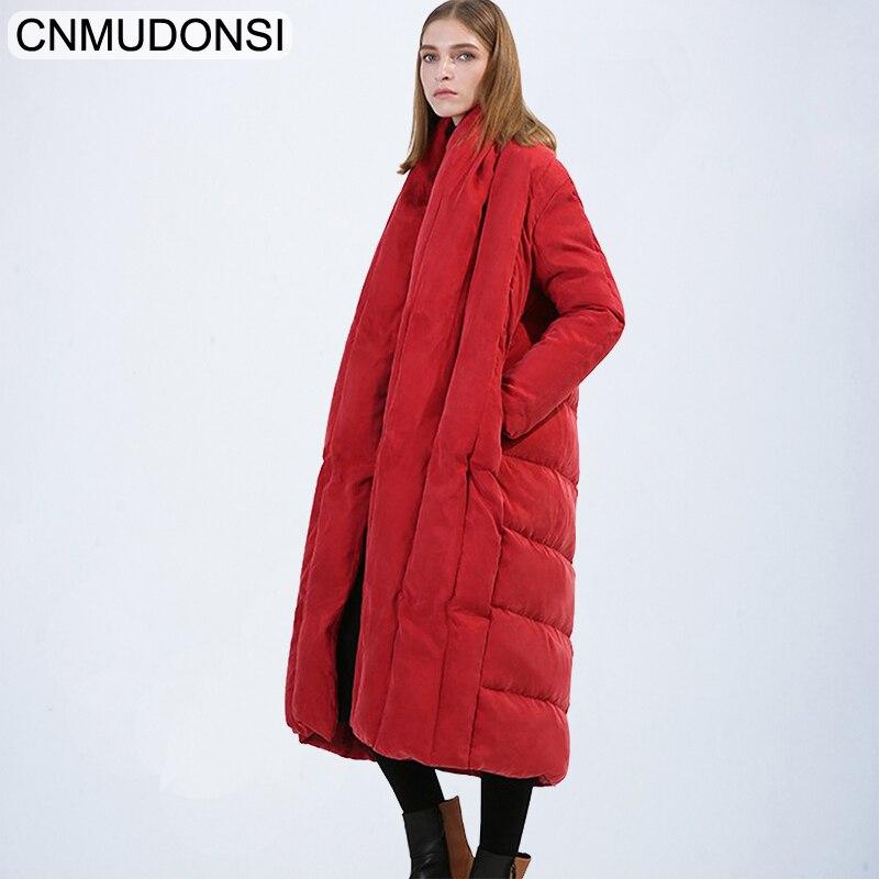 CNMUDONSI New Fashion Oversize Large Size Loose Winter Jacket 2018 Female's Warm Batwing Sleeve Long Coat Jaqueta Feminina