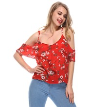 Sexy Cold Shoulder Red Floral Tops Ruffles Chiffon Blouses Shirt Women Strap Boho Blusas Mujer 2018 Summer Beach Blouse Feminina недорого
