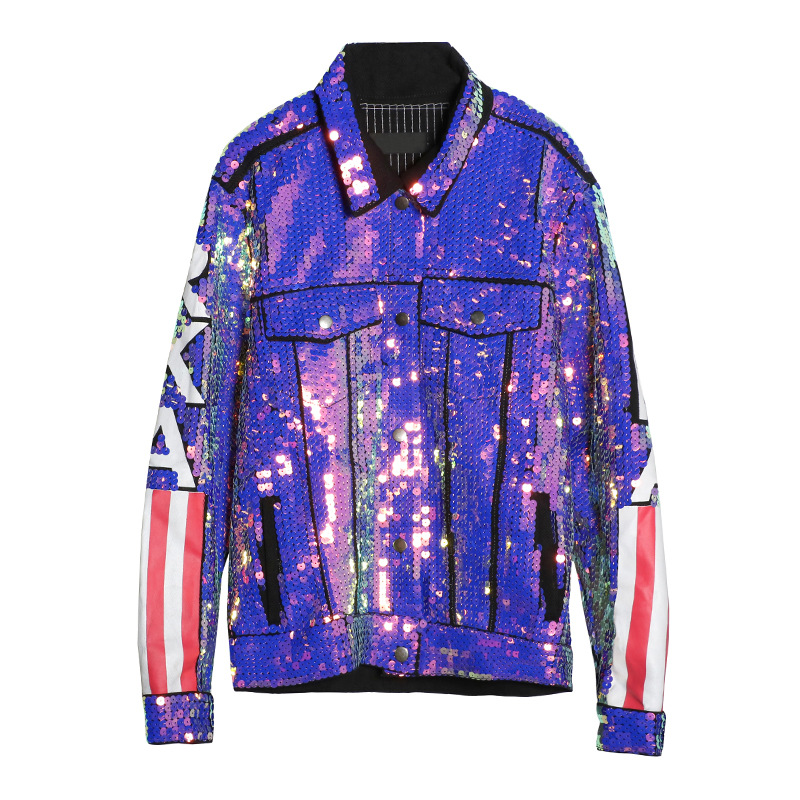 Bomber Uniforme Filles Multicolor Usa Streetwear Nouvelle Femmes Veste Drapeau Designer Manteau Paillettes Élégant Baseball Mode Amérique Jeans De T4qWgO0