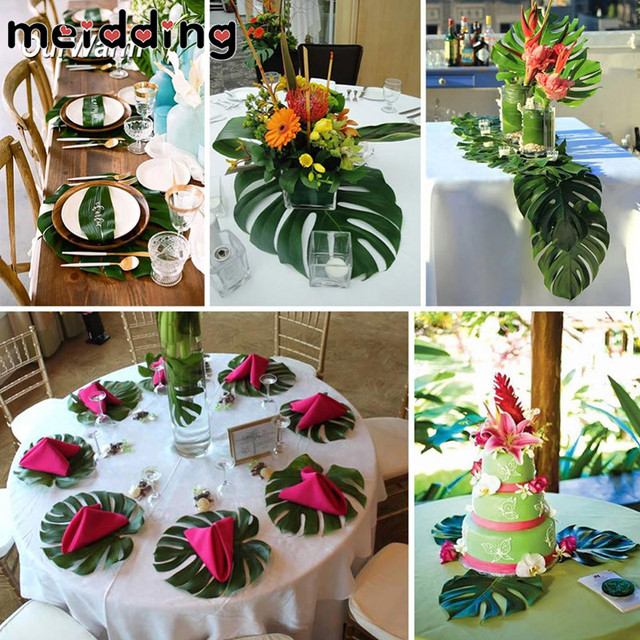 MEIDDING 12pcs Artificial Tropical Palm Leaves For Hawaii Luau Party Decorations  Beach Theme Wedding Table Decor