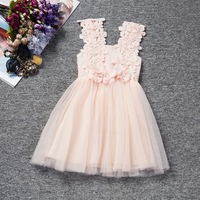2016 Retail Solid Baby Girls Sleeveless Dress Lovely Bow Kids Clothes New Arrivel Cute Dresses Lace