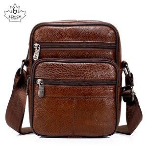 Image 2 - Genuine Leather Crossbody Men Messenger Bag Hot Sale Male Small Man Flap Fashion Shoulder Bags Mens Travel New Handbags ZZICK