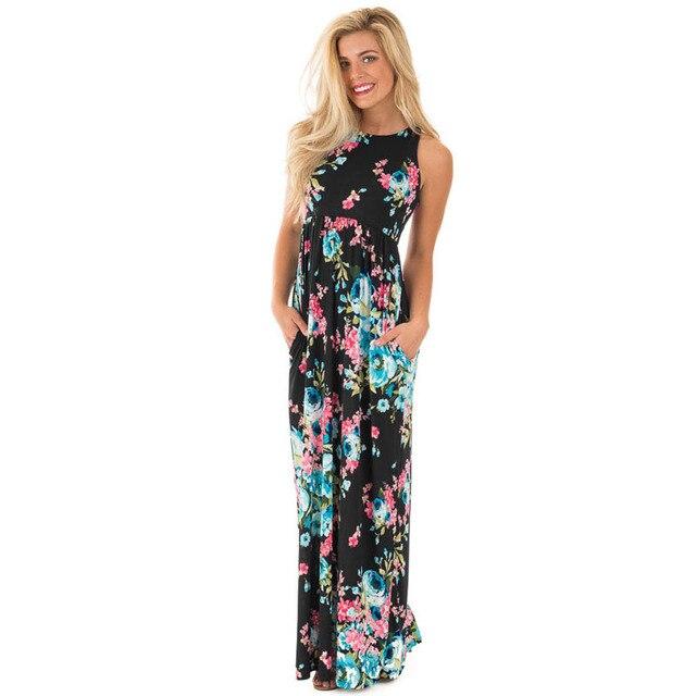 Women Dress Elegant Floral Print Work Business Casual Party Summer Elastic  Waist Long Dress Travel Beach Ankle Dresses Vestidos ff0f59632817