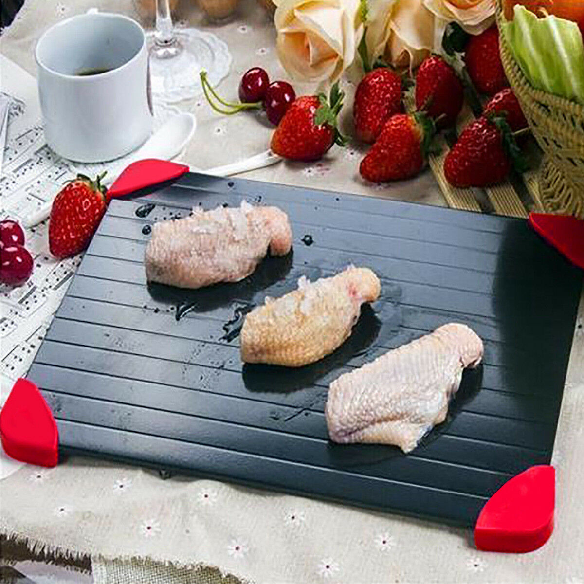 Home Kitchen Accessories Aluminum Quick Fast Thawing Defrosting Tray Meat Food Defrost Thaw Plate Board Mats Table Accessories