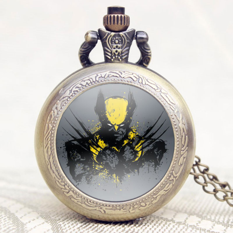 Small Antique Marvel Comics Theme X-Men Quartz Pendant Necklace Pocket Watch With Chain Retro Watches Gift Jewelry 2017 new arrival night shift nurse pocket watch adult games pendant quartz watches with necklace gift for man woman