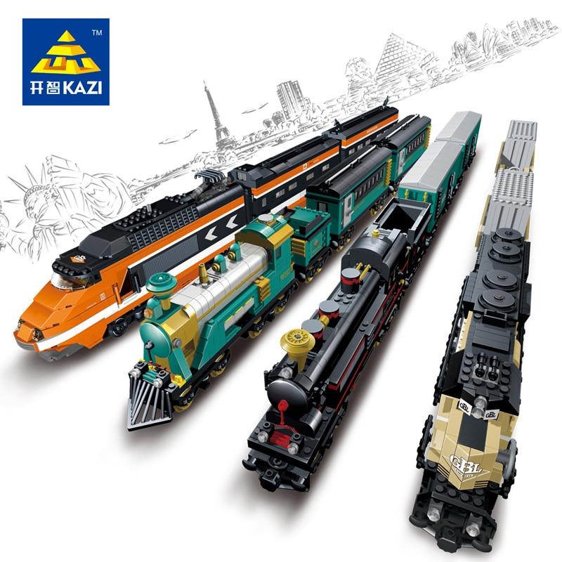 Model building kits compatible with lego city trains rail KTX 3D blocks Educational model building toys hobbies for children