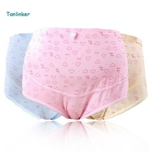 Tonlinker 2018 3pcs solf Cotton basic Maternity Clothes Underwear print high-rise Waist Pregnancy Briefs Pregnant women Panties