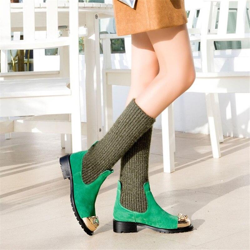 Decoración Cómodos Planos Zapatos Tejer Y Black Patchwork Lana Calcetines Casuales Botines De Luchfive Elástico Vaca Mujer Metal green blue Botas ZP7qwg4