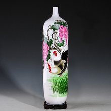 Jingdezhen ceramics famous hand-painted pastel French vase flower decoration decoration style of modern living room