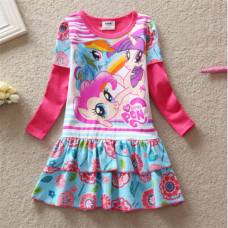Spring Dresses for Girls Baby Girl Clothes Grand child's dress my little poli cotton t-shirt dress children dress cute pony new free shipping hot selling spring girl cute doll cotton thread a long t shirt