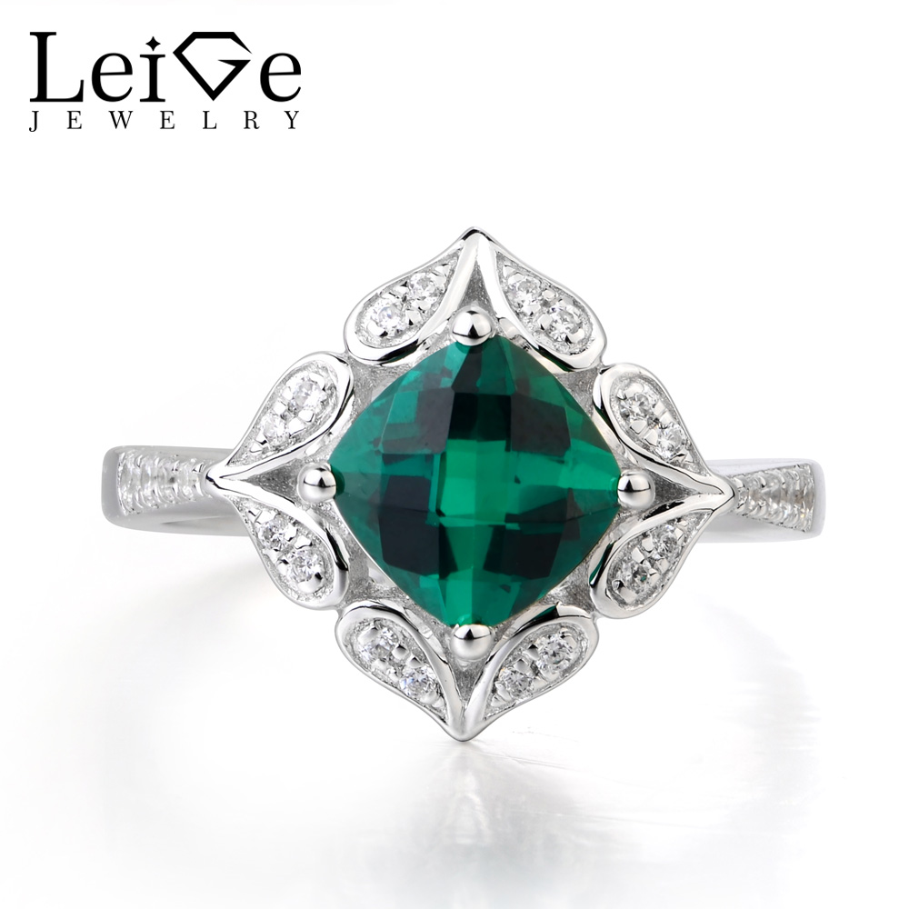 Leige Jewelry Emerald Ring Engagement Ring Genuine 925 Sterling Silver Vintage Ring Fine Jewelry Green Gemstone May BirthstoneLeige Jewelry Emerald Ring Engagement Ring Genuine 925 Sterling Silver Vintage Ring Fine Jewelry Green Gemstone May Birthstone