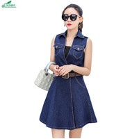 Spring Cowboy Dress Women Slim Summer Large Size Women Fat MM Thin Section Sleeveless Vest
