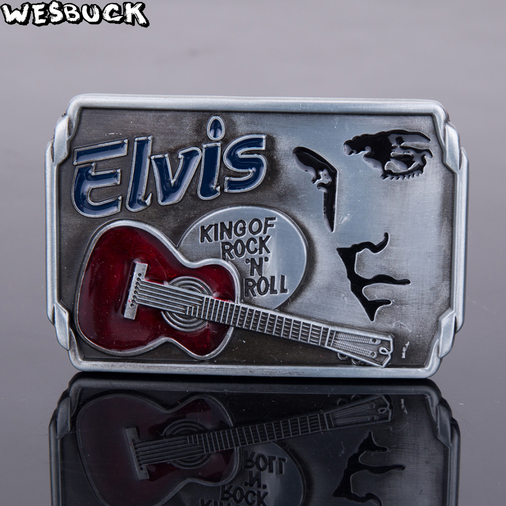 5PCS MOQ WesBuck Brand Metal Belt Buckles Music ELVIS King of Rock and Roll Vantage for Man Women Western Buckles Marvel Buckle