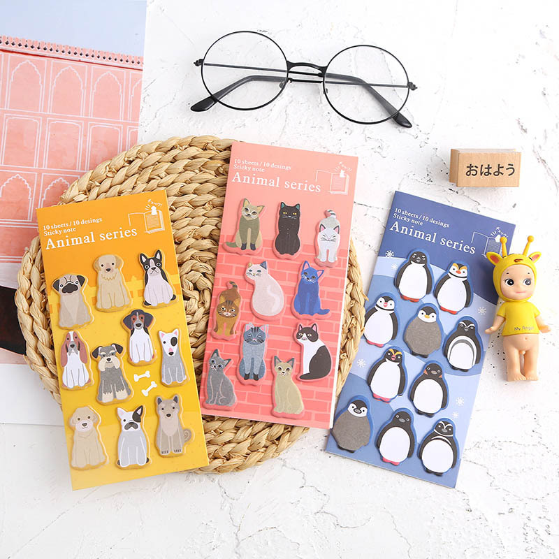 8 Pcs Cute Animal Sticky Note Set Cartoon Cat Dog Penguin Bird Whale Lion Memo Pad Post Sticker Stationery Office School A6629
